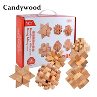 Candywood 6 pcs/set Wooden Magic Box Puzzle game Kong Ming Luban lock IQ toys Classical Intellectual Wooden Cube Educational Toy