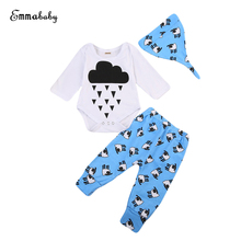 Infant Newborn Baby Boy Girl The Rain Clouds Romper And Pants 3pcs Outfits Clothes Toddler Baby Clothes