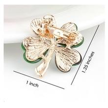 Light Green 4 Leaf Clover Crystal Irish Shamrock Brooch Lapel Collar Pins for Men or Women