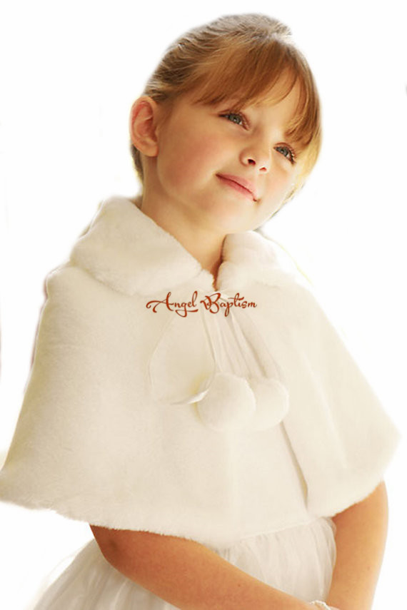 Short Autumn Winter wedding warm white/ivory flower girl faux fur bolero with tie jacket wrap little kid cape capelet