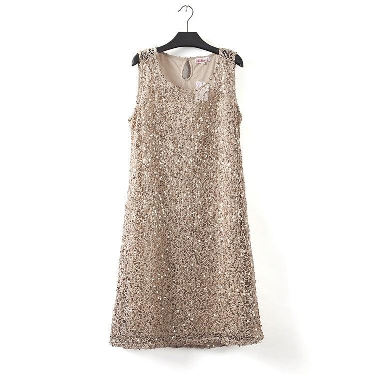 Plus la taille extensible femmes sequin robe sans manches casual robes de soirée élégant robes de fest