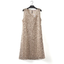 plus size stretchable women sequin sleeveless dress casual dresses party evening elegant vestidos de fest