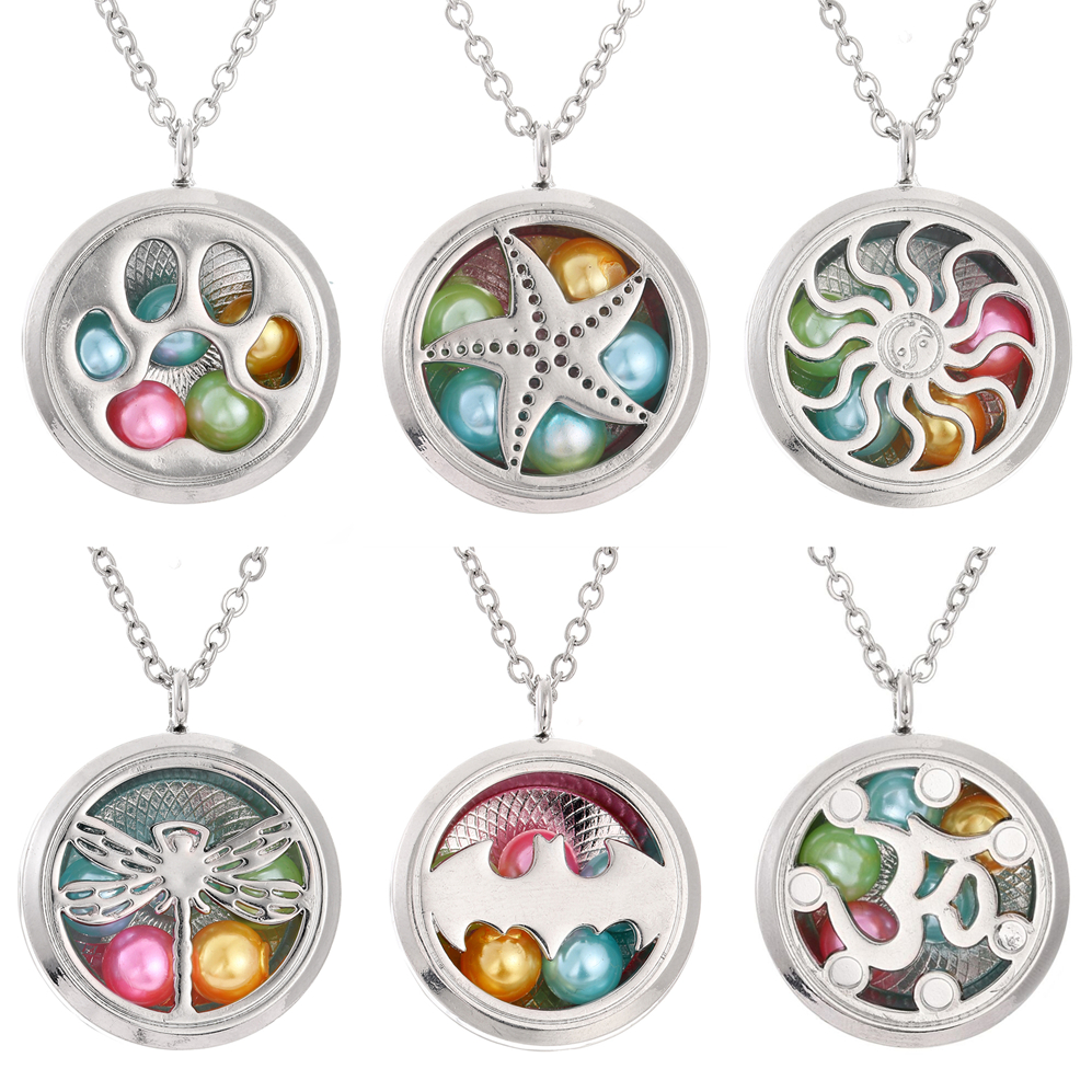 CliPons Aromatherapy Essential Oil Cloud Diffuser Locket Necklace Engraved Have Faith Necklaces