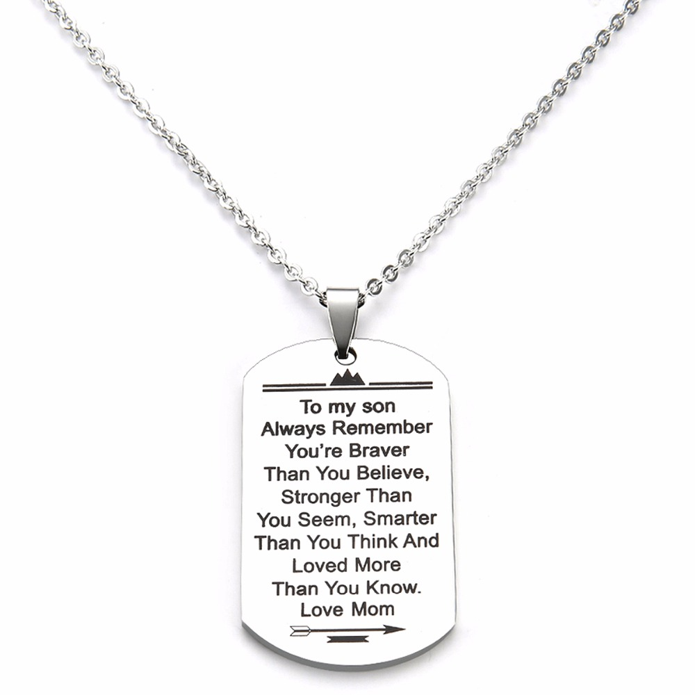 Stainless Steel Dog Tag Letters To My Son Love Mom Pendant