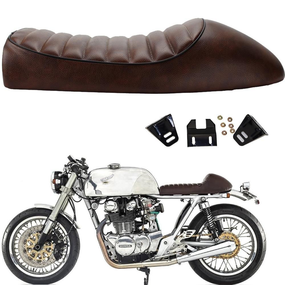 Motorcycle Vintage Saddle Custom Cafe Racer Seat Cushion Brown Hump For CB350 CB400 CB450 CB500 CB550 CB750