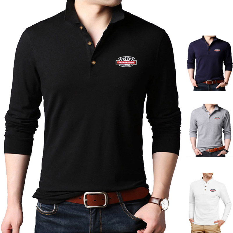 Fashion Brand Men   polo   shirt Solid Color Long-Sleeve Slim Fit Shirt Men Cotton   polo   Shirts Casual Shirts LT104