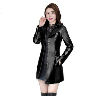2018 Autumn Winter New Fashion plus size leather Jacket women Leather Jacket Coat women Slim fit long Trench Coat Outwear L-5XL
