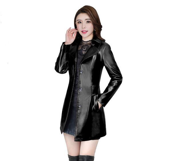 2018 Autumn Winter New Fashion plus size leather Jacket women Leather Jacket Coat women Slim fit long Trench Coat Outwear L-5XL