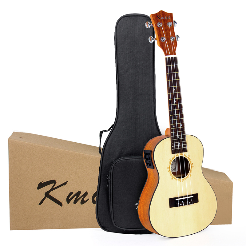 Kmise Concert Ukulele Electric Acoustic Solid Spruce 23 inch 18 Frets Ukelele Uke 4 String Hawaii Guitar with Gig Bag 21 inch colorful ukulele bag 10mm cotton soft case gig bag mini guitar ukelele backpack 2 colors optional
