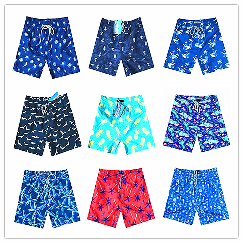 2018 Brand Brevile Pullquin Beach Board Short Men Turtle Conch Cupid Arrow Pineapple Seagull Board Shorts Elastic Waist Swimwear Men's Clothing