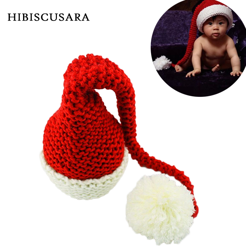 Newborn Winter Knitted Hat Red&White Christmas Baby Long Plait Beanie Cap Crochet Infant Santa Hat Photography Props sr039 newborn baby clothes bebe baby girls and boys clothes christmas red and white party dress hat santa claus hat sliders
