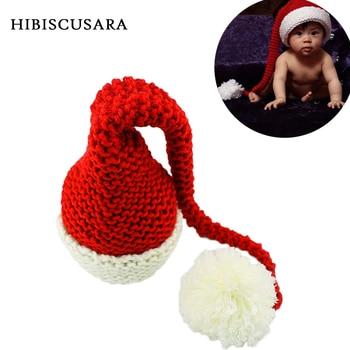 цена на Newborn Winter Knitted Hat Red&White Christmas Baby Long Plait Beanie Cap Crochet Infant Santa Hat Photography Props