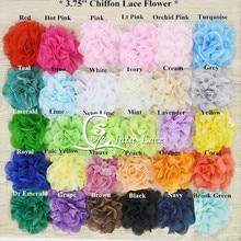 50 шт./лот шифоновые кружевные цветы '3,75 кружевные цветы для оголовья аксессуары 38 цветные аксессуары для волос, модные аксессуары