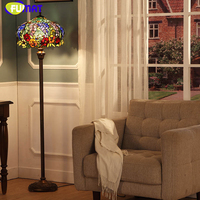 FUMAT Stained Glass Floor Lamp For Living Room Bedside Light Vintage Artistic European Warm Creative LED Glass Shade Floor Lamps