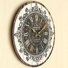 Vintage Wooden Wall Clock Large Shabby Rustic Kitchen Home Antique Retro Style