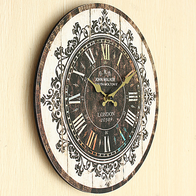 rustic kitchen clock best hoods vintage wooden wall large shabby home antique retro style