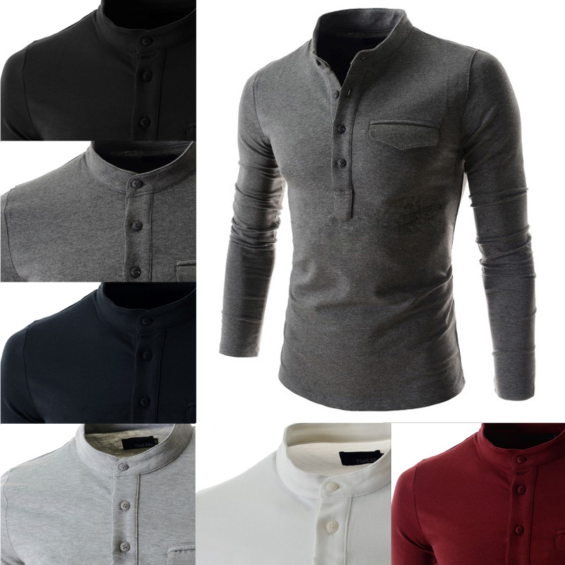 New Design Solid Color   Polo   Shirt Men 2018 Fashion Stand Collar Gray Long Sleeve   Polo   Shirt Casual False Pocket Henley Shirt