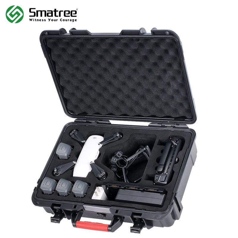 Smatree Carry Case for DJI Spark,Waterproof Drone Case for 4 Spark Batteries,Remote Controller,Battery Charger,Propeller Guard dji spark drone 3 in 1 car charger battery charging