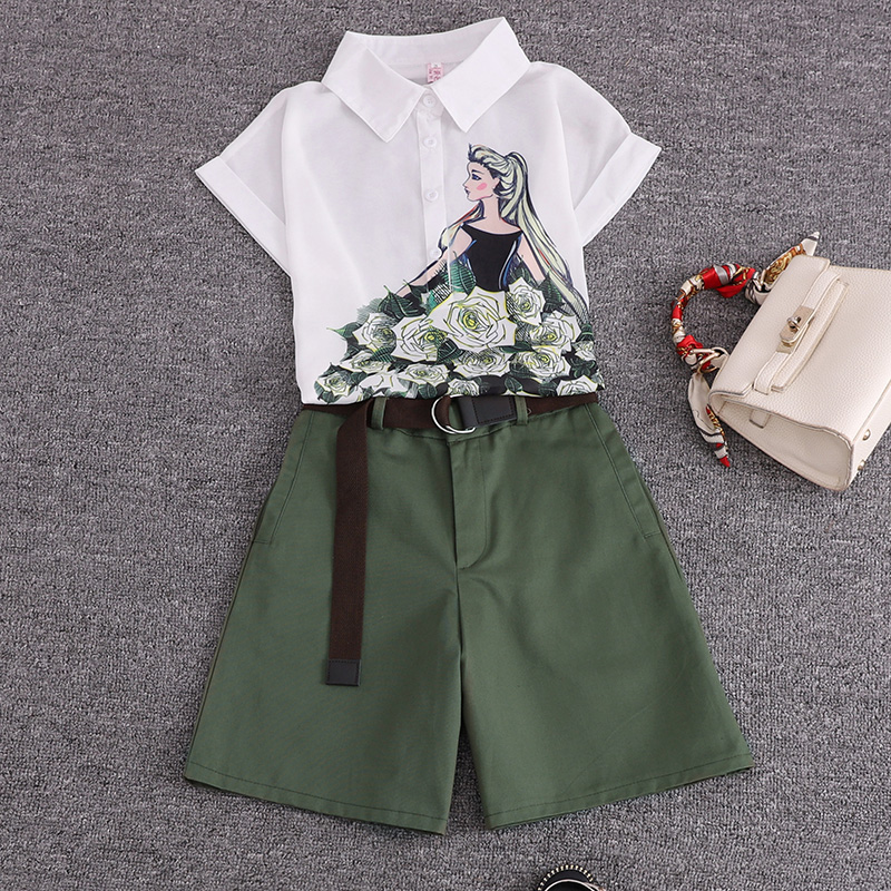 HTB1D3z7SwHqK1RjSZJnq6zNLpXaS - Summer 2 pieces suits girl print chiffon blouse shirt women tops +  shorts set Women two piece set tracksuit With Belt