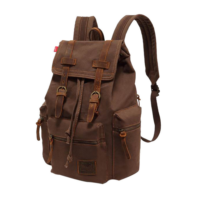c8f25533334 Canvas Backpac Vintage Canvas Leather Backpack Hiking Daypacks ...