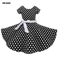 Classy Audrey 1950s Vintage Rockabilly Swing Summer Girls Dress Dots Retro Red,Black Girl Party Dress Cotton Kids Princess Dress