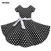 Classy Audrey 1950s Vintage Rockabilly Swing Summer Girls Dress Dots Retro Red,Black Girl Party Dress Cotton Kids Princess Dress