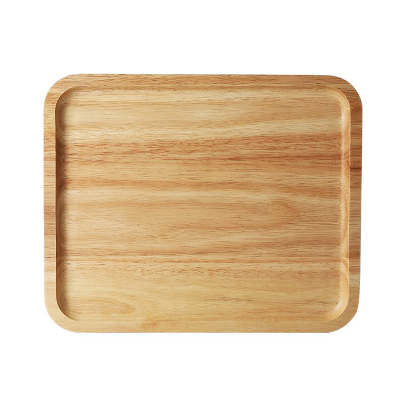 1Pc Wooden Tray Solid Wood Dish Plate Rectangular Shape Tea Cake Tray Large Fruit Bread Food Serving Tray Kitchen Wooden Utensils 4