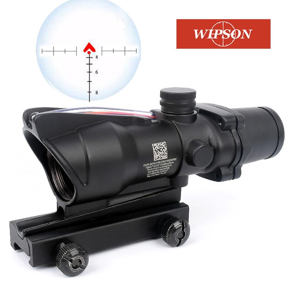 Avcılık tüfek ACOG 4X32 gerçek Fiber optik kırmızı yeşil işıklı Chevron cam Etched Reticle taktik optik Sight