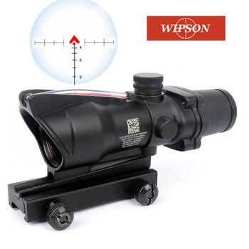 Mira telescópica de caza ACOG 4x32, fibra óptica Real, rojo, verde, iluminado, Chevron, retícula grabada, óptica táctica