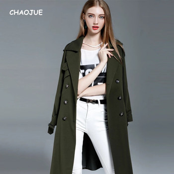 CHAOJUE Army Green Trench Women Extra Long Fashion Causal Loose Coat Female Double Breasted Plus Size Overcoat Beige Pea Coats