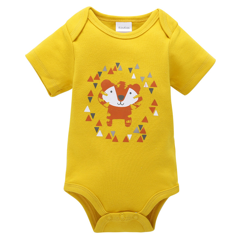 0-12M Newborn Boys   Romper   Toddler Girls Clothing Cotton Clothes Summer Unisex Jumpsuit Infant Yellow Cartoon Fox Baby   Rompers