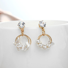 2019 Korean Crystal Double Circle Drop Earring Simple Fashion Imitation Pearl Dangle Statement Earrings For Women Party Jewelry