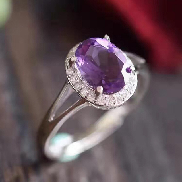 Classic natural amethyst ring 7mm * 9mm oval cut amethyst 1.2 ct natural amethyst pure 925 sterling silver woman gemstone ring