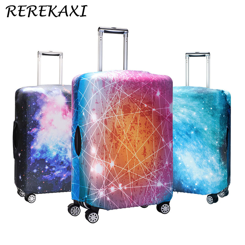 REREKAXI Star Sky 3D Print Travel Luggage Trolley Elastic Protective Cover For Trunk Case Apply To 18''-32'' Suitcase Cover