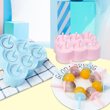 6 Cavity DIY Ice Cream Mold Makers Silicone Thick Mini Lollipop Non-toxic Molds Cube Dessert Tray With Popsicle