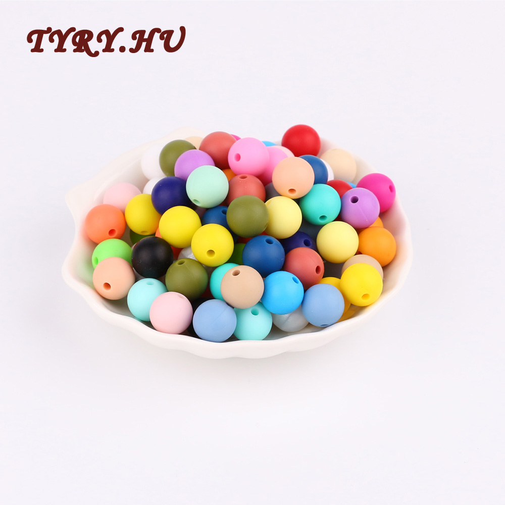 TYRY.HU 10pc 12mm Bpa Free Silicone Beads Diy Baby Teether Silicone Teething Necklace Accessories Pacifier Clips Crib Bead