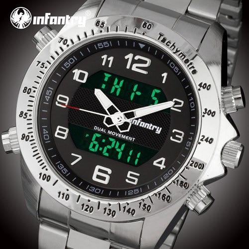 Мужские часы от ведущего бренда, роскошные аналоговые цифровые военные часы, мужские тактические армейские часы для мужчин, часы Relogio Masculino - Цвет: Silver