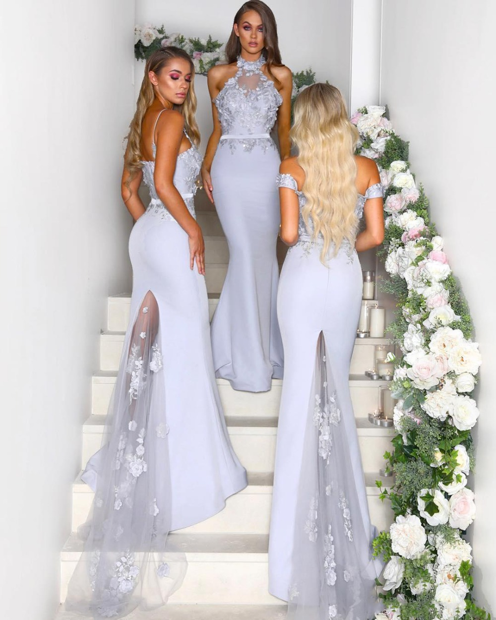 Mermaid   Bridesmaid     Dresses   2019 Applique Long Custom Made Party Prom Gowns For Beach Weddings
