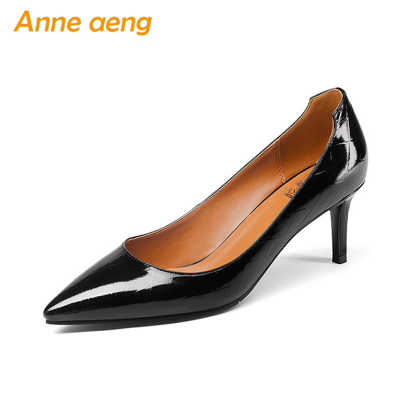 New Spring/Autumn Genuine Leather Women Pumps High Heels Pointed Toe Pigskin insole Sexy Office Ladies Women Shoes Black Pumps women pumps sexy open toe lace fashion pointed toe high heels new style shallow classic spring autumn single shoes ladies