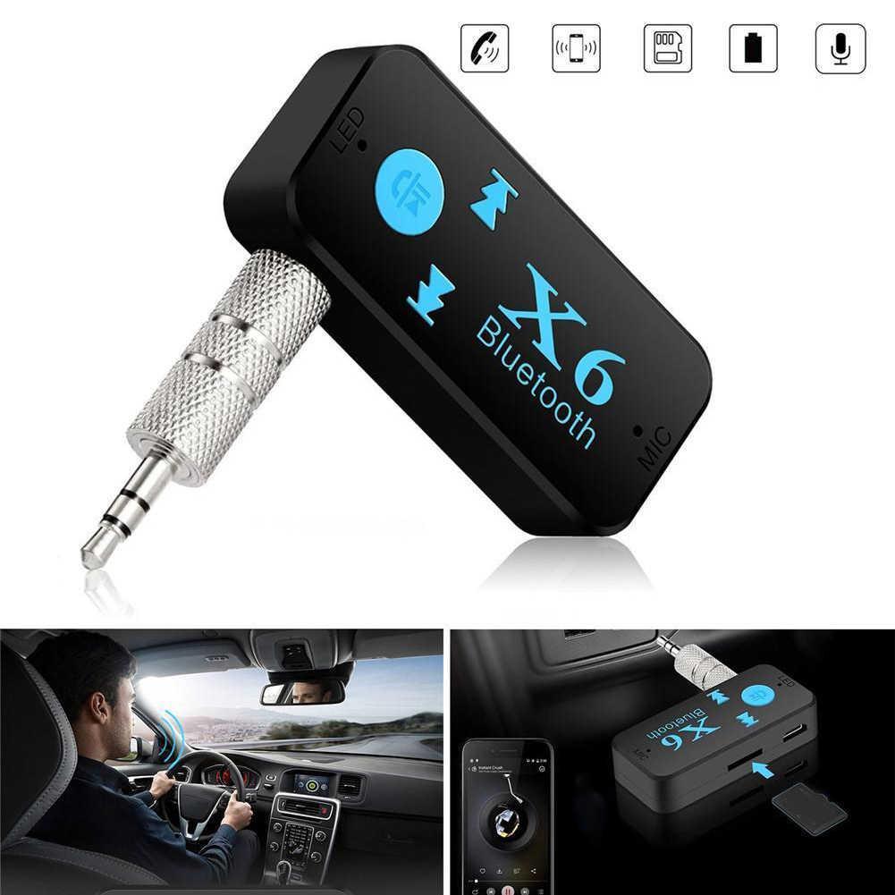 Беспроводной bluetooth-приемник MIC Вызов TF Card Reader Mini 4,1 адаптер 3 в 1 USB Audio Jack Портативный 3,5 мм X6
