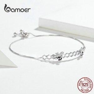 Image 2 - Bamoer abeille en nid dabeille Bracelet pour femmes 925 argent Sterling vente chaude reine des abeilles boîte chaîne Bracelets bijoux de mode SCB150