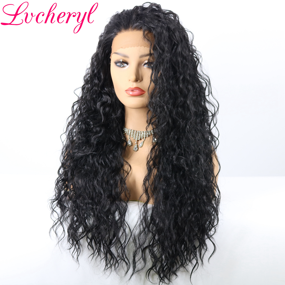 Lvcheryl Black Color Kinky Curly Synthetic Lace Front Wig 180 Heavy Density Heat Resistant Fiber Long