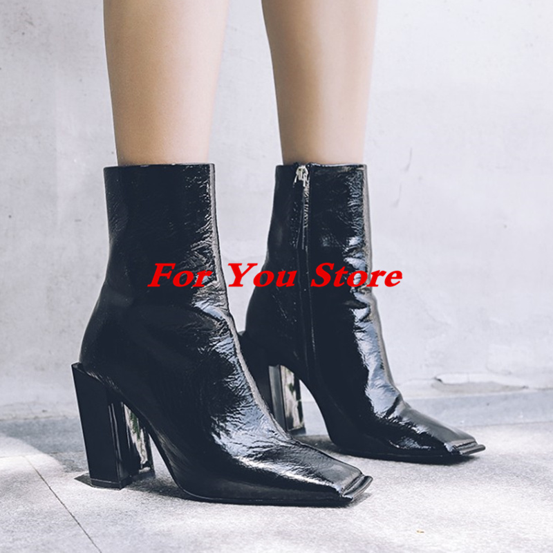 Hot New Square Toe Women Ankle Boots Black Patent Leather Short Booties High Heel Side Zip Luxury Brand Super Star Runway Shoes round toe autumn shoes high heel platform black casual lace up 2017 front ankle boots booties patent leather female ladies new
