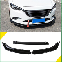 For Mazda 6 M6 Atenza 2014-2017 Front Bumper Lip Lower Grille Spoiler Protector Body Kit Diffuser Cover Sticker Trim Car Styling car front grille trim auto grille decoration cover for mazda 6 atenza 2014 2015 abs chrome
