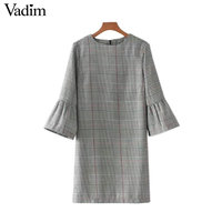 Vadim Women Vintage Flare Sleeve Houndstooth Dress Basic Plaid Bell Sleeve Brand Autumn Mini Dresses Vestidos