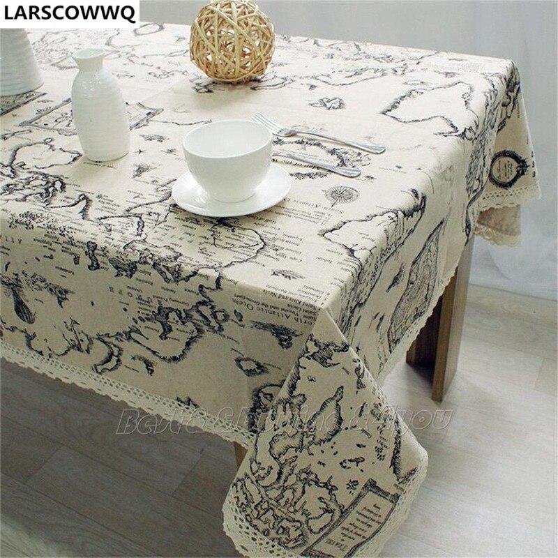 Larscowwq мира Географические карты Винтаж шаблон подсолнечника обеденный Кофе Таблица хлопок льняной ткани Бесплатная доставка