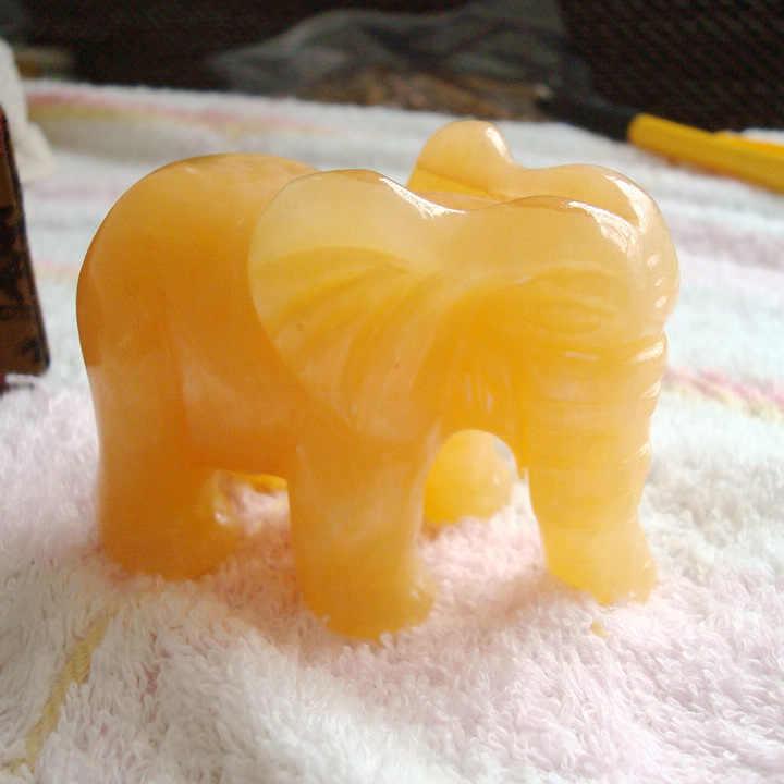 340 กรัมธรรมชาติสีเหลือง JASPER แกะสลักช้าง, คริสตัล Healing