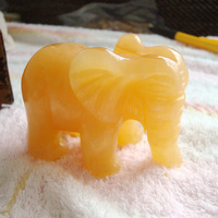 340g Natural YELLOW JASPER Hand Carved Elephant,Gemstone Crystal Healing