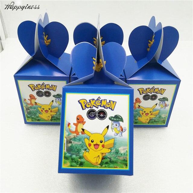 6pcs Lot Pokemon Birthday Party Decorations Candy Box Kids Go Supplies Spider Man