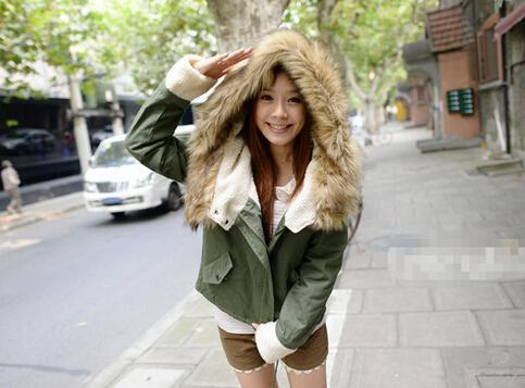 Newest Autumn Fashion Hot Top Faux Fur Green Long Sleeve High Street Women Casual Hooded Drawstring Coat